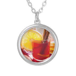 Fruit citrus tea with cinnamon and orange silver plated necklace