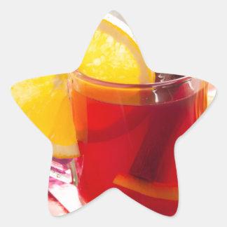 Fruit citrus tea with cinnamon and orange star sticker