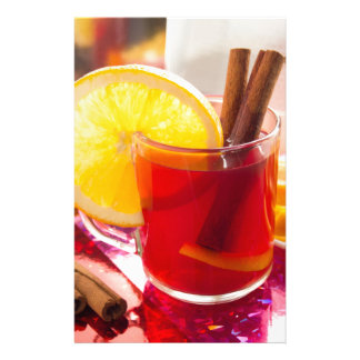 Fruit citrus tea with cinnamon and orange stationery