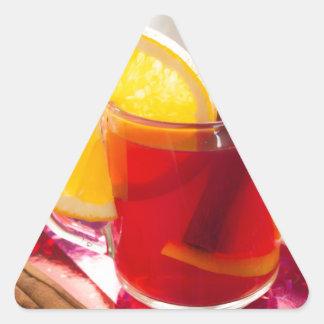Fruit citrus tea with cinnamon and orange triangle sticker