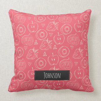 Fruit Cut in Half Pattern with Family Name Throw Pillow