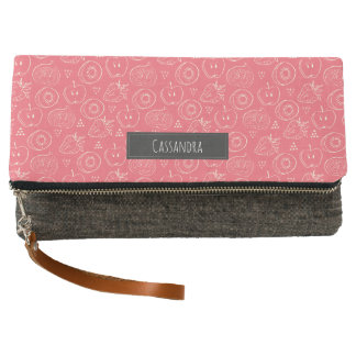 Fruit Cut in Half Pattern with Your Name Clutch