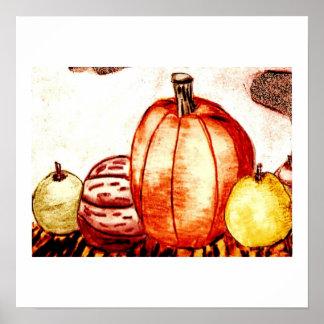 Fruit de thanksgiving, citrouille et copie d'écrou poster