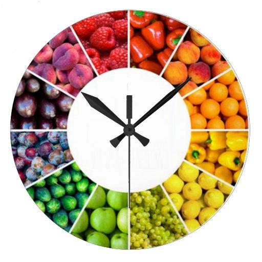 Fruit et horloge murale végétarienne