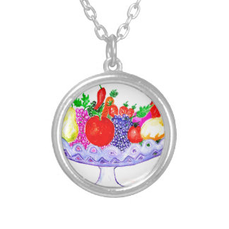 Fruit in Vase Art Silver Plated Necklace