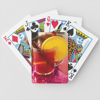 Fruit mulled wine with cinnamon and orange bicycle playing cards