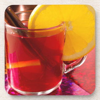 Fruit mulled wine with cinnamon and orange coaster