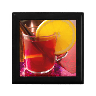 Fruit mulled wine with cinnamon and orange gift box