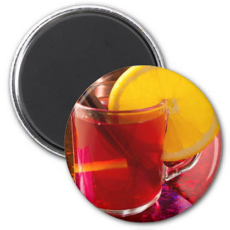 Fruit mulled wine with cinnamon and orange magnet