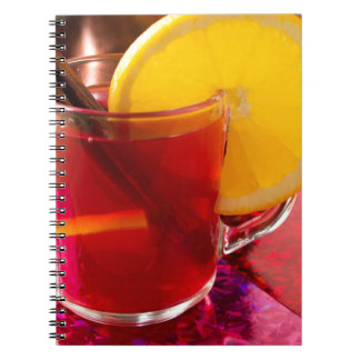 Fruit mulled wine with cinnamon and orange notebook