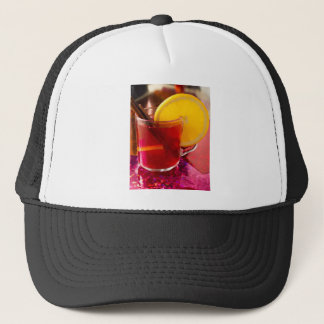 Fruit mulled wine with cinnamon and orange trucker hat