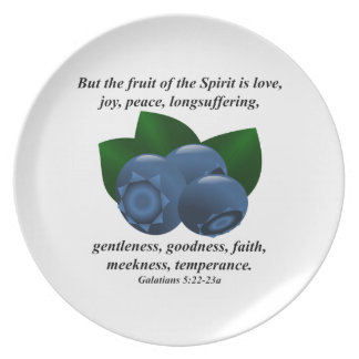 Fruit of the Spirit Blueberry with Bible Verse Plate