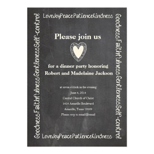 Fruit of the Spirit Chalkboard Anniversary Party Personalized Invite
