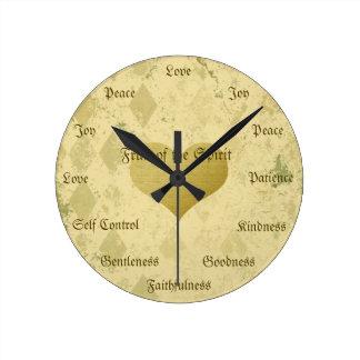 Fruit of the Spirit Christian Virtues Vintage Gold Clocks