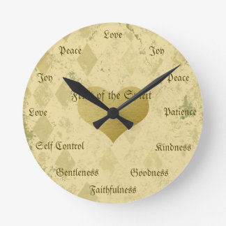 Fruit of the Spirit Christian Virtues Vintage Gold Round Clock