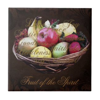 Fruit of the Spirit, Painted Brown Basket Tile