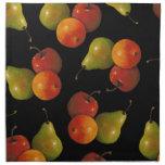Fruit on Black, Oil Pastel Art Apple, Pear, Orange Napkin
