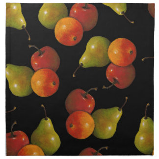 Fruit on Black, Oil Pastel Art Apple, Pear, Orange Napkin