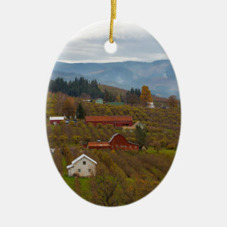 Fruit Orchard Farmland in Hood River Oregon Ceramic Ornament