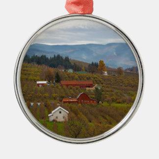 Fruit Orchard Farmland in Hood River Oregon Metal Ornament