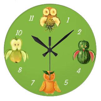 Fruit owls large clock