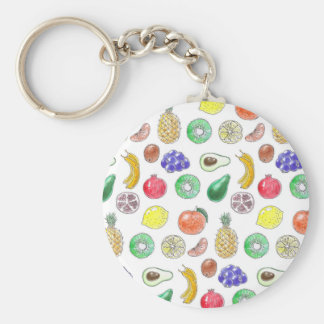 Fruit pattern basic round button keychain