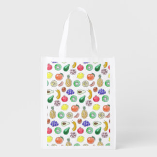 Fruit pattern reusable grocery bag