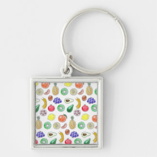 Fruit pattern Silver-Colored square keychain
