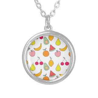 fruit pattern silver plated necklace