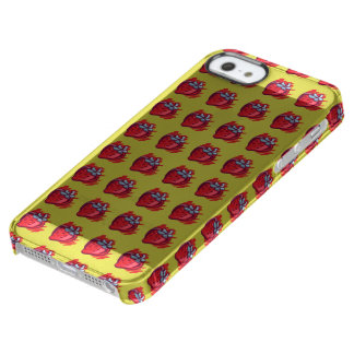 Fruit Patterns Strawberries on gold Electrinics Clear iPhone SE/5/5s Case