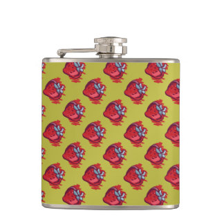 Fruit Patterns Strawberries on gold for Him Hip Flask