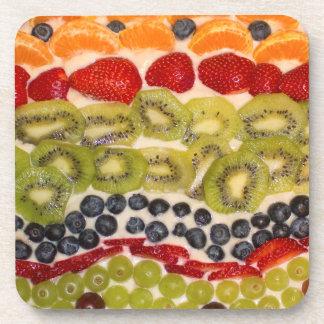 Fruit Pizza Close-up Photo Coasters