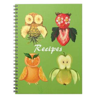 Fruit recipes -cute owls note books