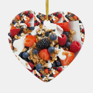 Fruit Salad Foods Chef Healthy Eating Cuisine Art Ceramic Heart Ornament