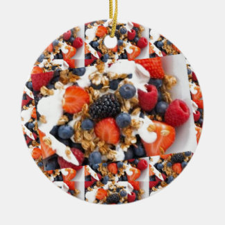 Fruit Salad Foods Chef Healthy Eating Cuisine Art Round Ceramic Ornament