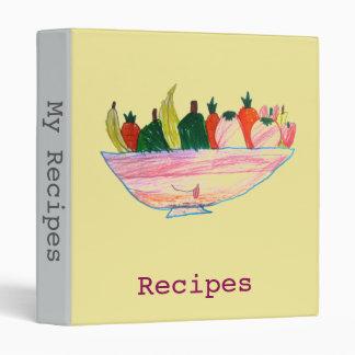 Fruit Salad funny cartoon art recipe folder 3 Ring Binder