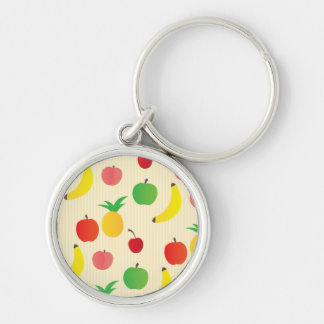 Fruit Salad Pattern Silver-Colored Round Keychain