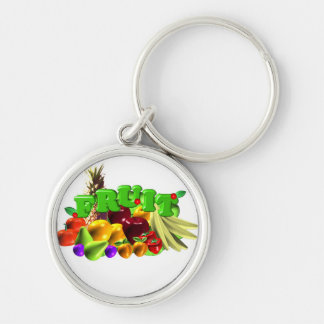 Fruit Salad Silver-Colored Round Keychain