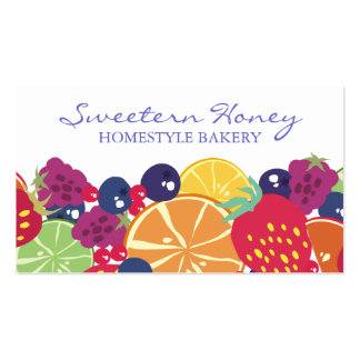 fruit salad strawberry blueberry raspberry citrus business card template