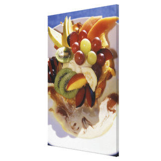 Fruit salad with ice cream. gallery wrap canvas
