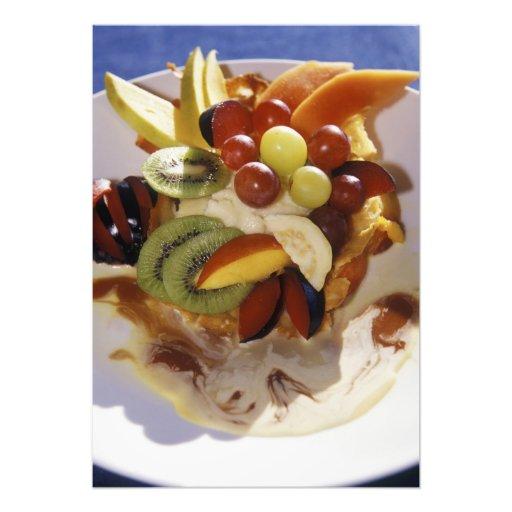 Fruit salad with ice cream. photograph