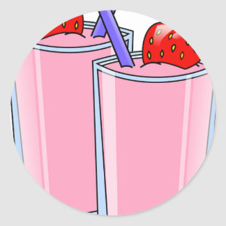 Fruit Sweet Smoothie Strawberry Dessert Destiny Classic Round Sticker