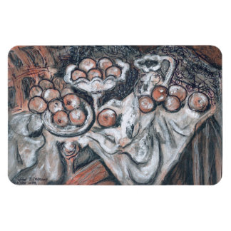 Fruit Table Still Life Conte Sketch after Cezanne Magnet