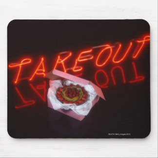 Fruit tart with neon take-out sign mouse pad