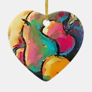 Fruit themed gifts ceramic heart ornament