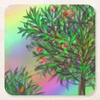 Fruit tree with rainbow square paper coaster