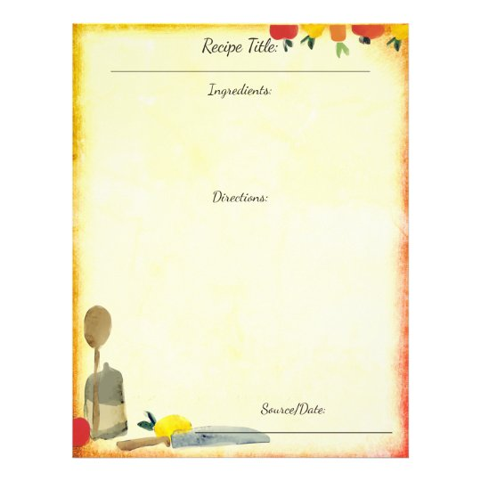 fruit vegetable utensils recipe letterhead