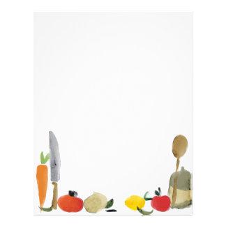 fruit vegetable utensils recipe menu letterhead
