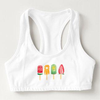 Fruit Watercolor Ice Cream Sports Bra