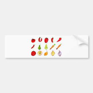 Fruits and Vegetables Art Bumper Sticker